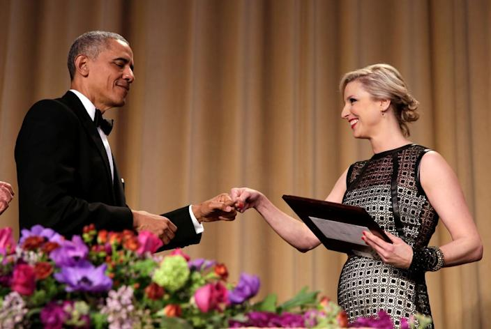 <p>President Obama greets White House Correspondents' Association president Carol Lee at the White House Correspondents' Dinner, April 30. <i>(Photo: Yuri Gripas/Reuters)</i></p>