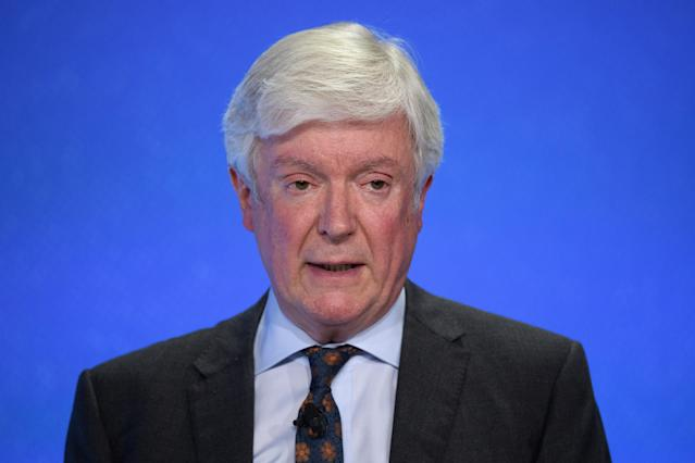 Director General of the BBC Tony Hall speaks to delegates during day two of the Global Conference on Press Freedom on July 11, 2019 in London, England. (Photo by Leon Neal/Getty Images)