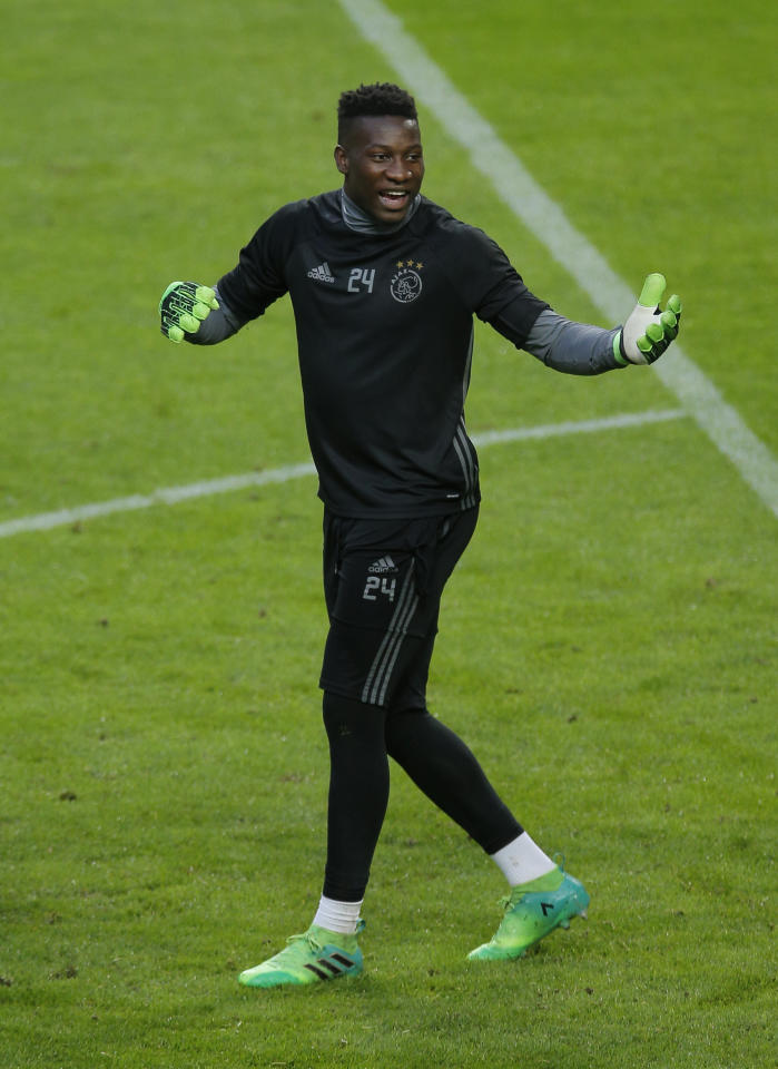 Football Soccer - Ajax Amsterdam Training - Friends Arena, Stockholm, Sweden - 23/5/17 Ajax's Andre Onana during training Reuters / Andrew Couldridge Livepic