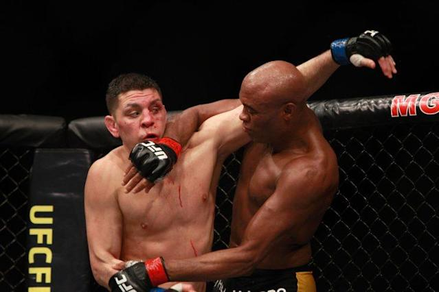 Nick Diaz (L) hasn't fought since a 2015 bout at UFC 183 in Las Vegas with Anderson Silva. (Getty Images)
