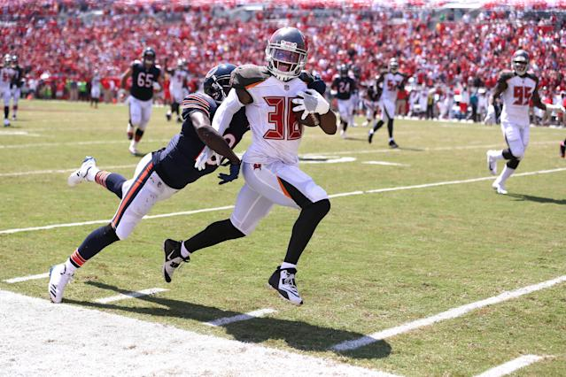 <p>Chicago Bears wide receiver Kendall Wright is unable to catch Tampa Bay Buccaneers defensive back Robert McClain as McClain returns an interception for a touchdown in the second quarter on Sunday, Sept. 17, 2017 at Raymond James Stadium in Tampa, Fla. (Chris Sweda/Chicago Tribune/TNS) </p>