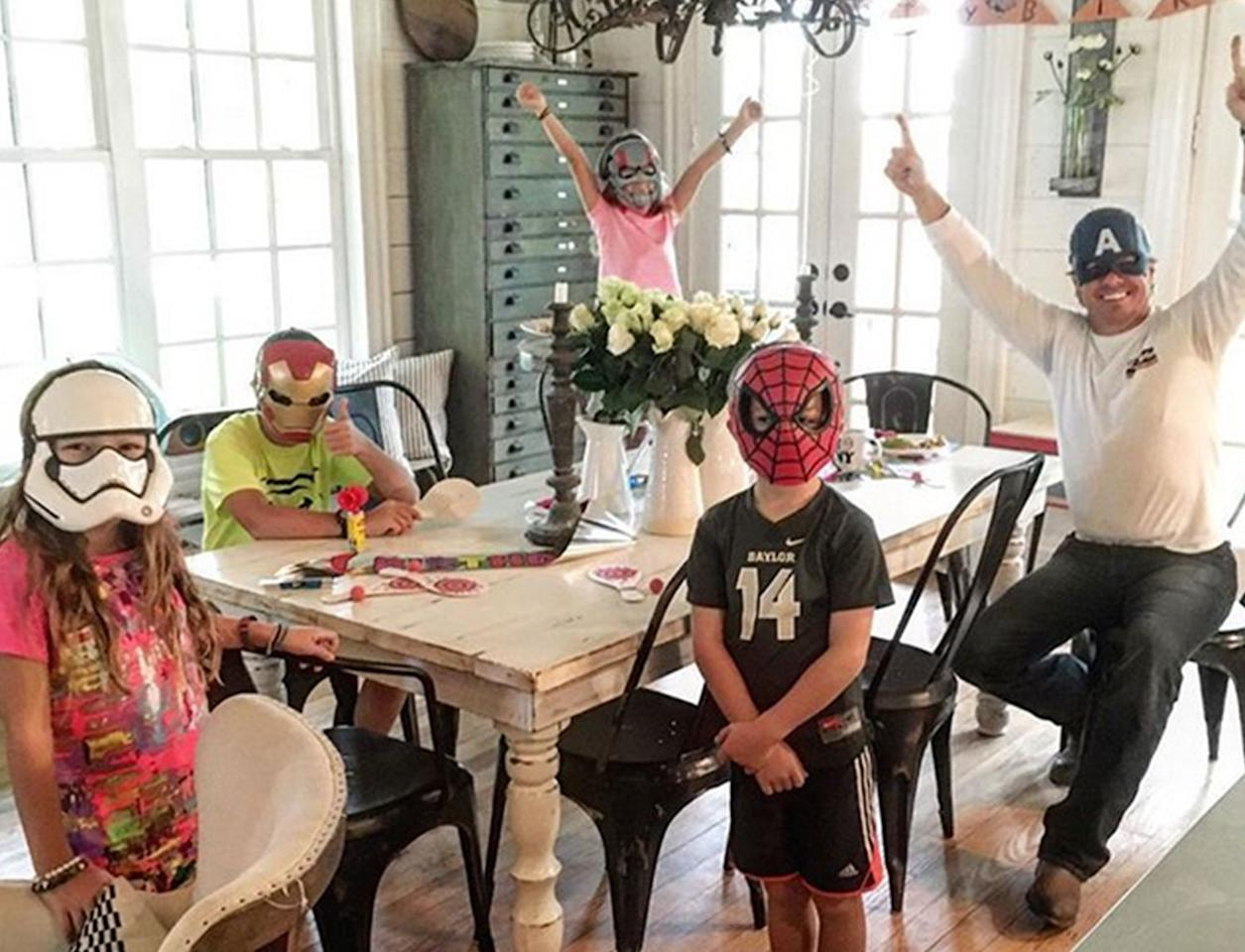 """<p>But, as it turns out, they're heroes, too. """"The best birthday surprise was waking up to the most amazing bkfst and a room full of all my favorite superheroes,"""" Joanna wrote on this spirited family shot.</p>"""