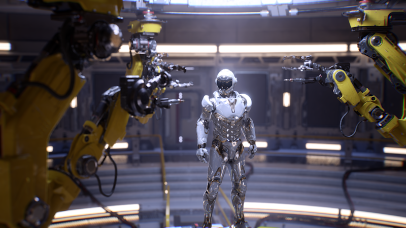 A ray tracing demo featuring a robot on a Turing card.