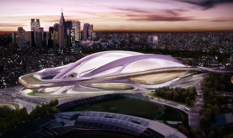 An artist's impression of the original design for the Tokyo 2020 Olympic Stadium, which was scrapped after costs spiralled