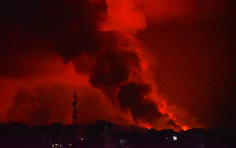 A general view shows smoke and flames at the volcanic eruption of Mount Nyiragongo near Goma