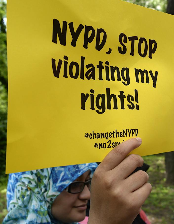 Civil rights and legal advocates hold a press conference in June 2013 to discuss legal action challenging the New York Police Department's surveillance program. (Photo: TIMOTHY CLARY/AFP via Getty Images)