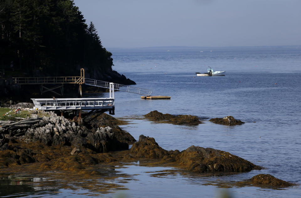 The area where Julie Dimperio Holowach was killed by a shark in Harpswell, Maine. (Jessica Rinaldi/the Boston Globe via Getty Images)