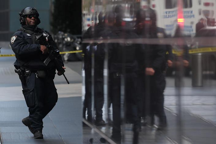 <p>A member of the New York Police Department is seen outside the Time Warner Center after a suspicious package was found inside the CNN Headquarters in Manhattan, New York, Oct. 24, 2018. (Photo: Shannon Stapleton/Reuters) </p>