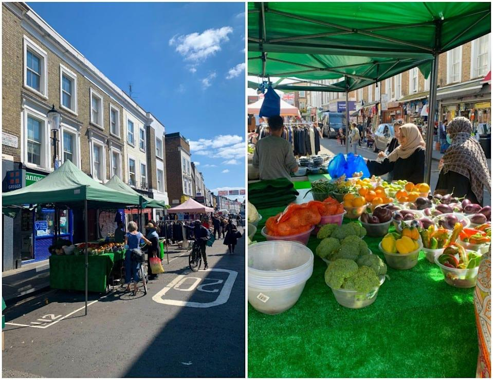 A side by side of a wide shot of Portobello Market (left) and woman buying fruit at a food stall (right).