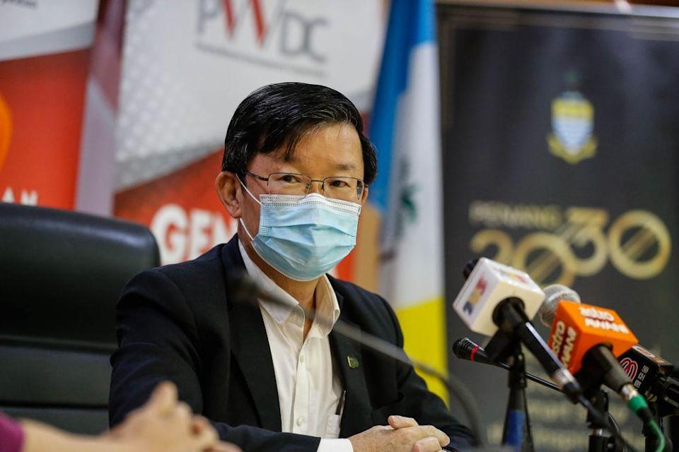 Penang Chief Minister Chow Kon Yeow said the RM20 million allocation for targeted groups is on top of last year's RM151 million aid to businesses, organisations and individuals affected by the pandemic. — Picture by Sayuti Zainudin