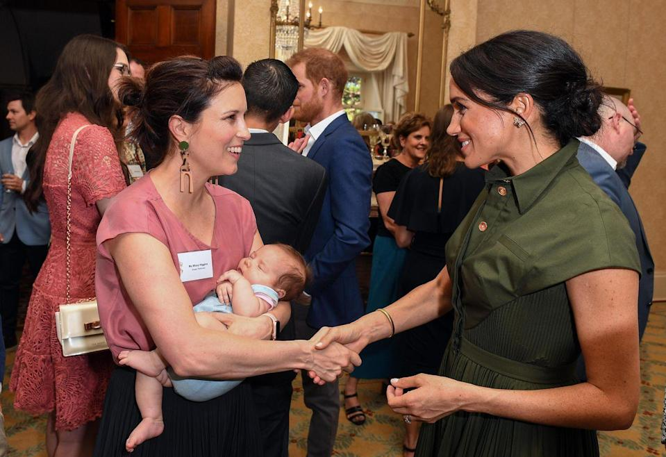 <p>A day after the pregnancy news was made public, Meghan was introduced to Australian singer Missy Higgins and her nine-week-old baby Lunar in Sydney.</p>