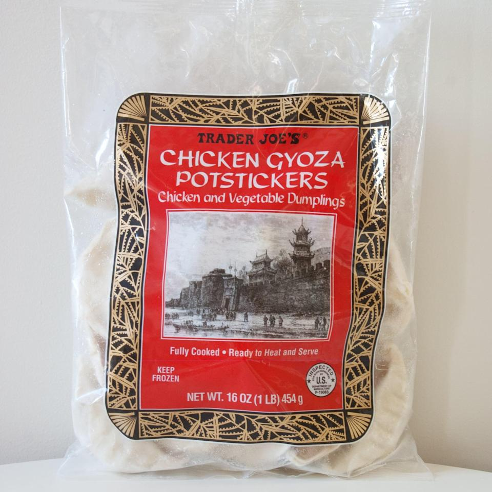 <p>Trader Joe's Chicken Gyoza Potstickers are our favorite store-bought potstickers. Sauté them for a crispier skin, or simply microwave them for an even quicker option. Everyone loves a good dumpling, so start any party off right with a platter (or two) of these.</p>