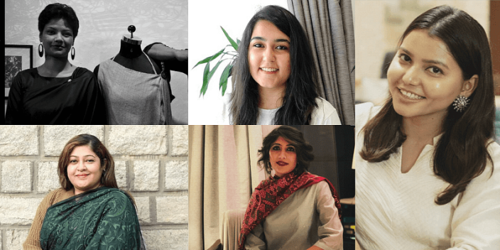 (From L to R clockwise) Janessaline Pyngrope, co-founder of Daniel Syiem's Ethnic Fashion House; Chaitsi Ahuja, co-founder of Brown Living; Nitika Sonkhiya, founder of MyOneEarth; Anubha Jhawar, founder of Celes Té; Payal Mittal Agarwal, founder of Tranquilitea. Picture courtesy: YourStory.