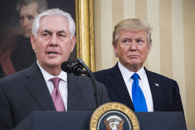 Secretary of State Rex Tillerson speaks as President Trump listens during his ceremonial swearing-in at the White House, Feb. 1, 2017. (Photo: Jabin Botsford/The Washington Post via Getty Images)