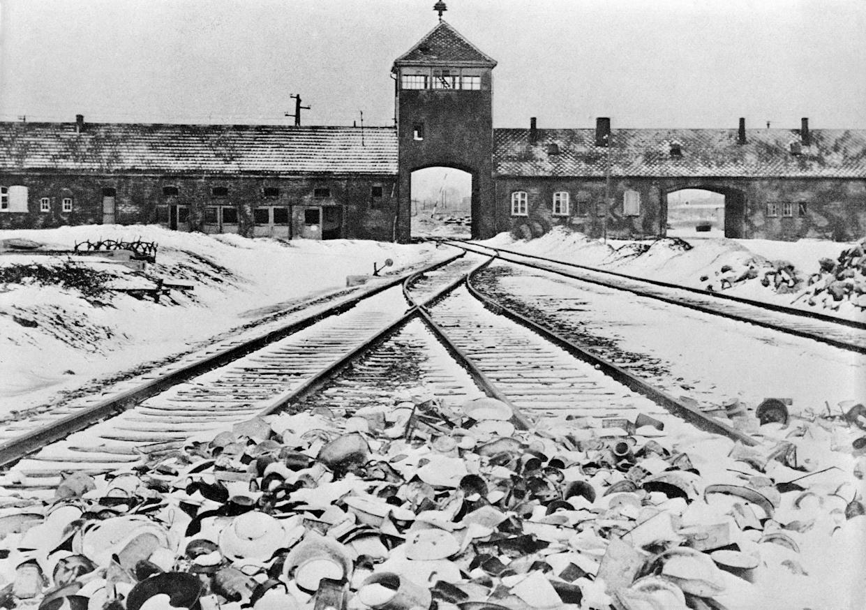 Entrance to the German concentration camp of Auschwitz-Birkenau in Poland. (Photo: Bettmann/Getty Images)