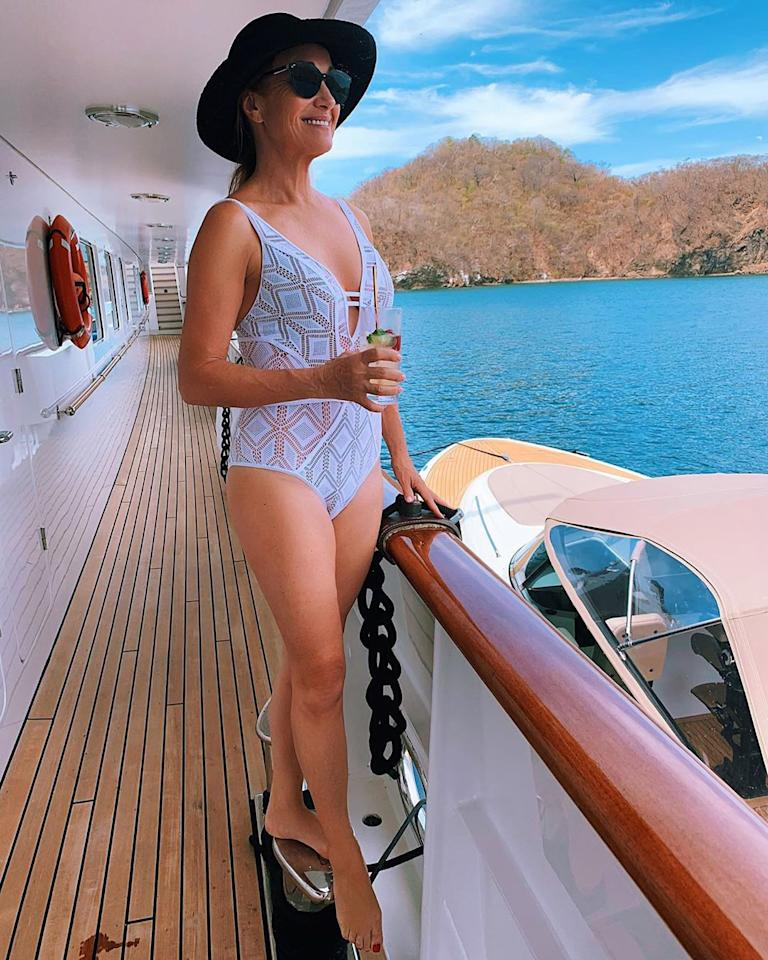 """<p>Jane took in the Costa Rica """"<a href=""""https://www.instagram.com/p/B813-tUnmv4/"""">sea-nery</a>"""" as she snapped a swimsuit pic in her low-cut white one-piece on board a yacht.</p>"""