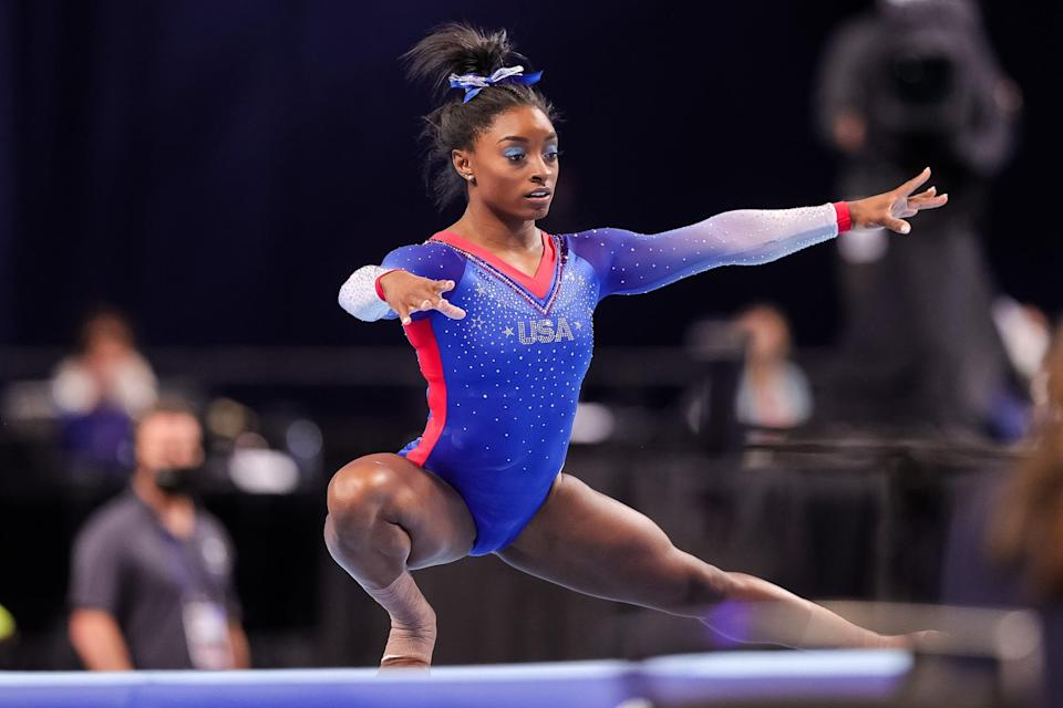 """<ul> <li><strong>On <a href=""""http://www.glamour.com/story/simone-biles-finds-her-balance"""" class=""""link rapid-noclick-resp"""" rel=""""nofollow noopener"""" target=""""_blank"""" data-ylk=""""slk:not giving up when things get hard"""">not giving up when things get hard</a>:</strong> """"I wanted to give up. But it would have been dumb because I've worked way too hard.""""</li> <li><strong>On <a href=""""http://www.vogue.com/article/simone-biles-cover-august-2020"""" class=""""link rapid-noclick-resp"""" rel=""""nofollow noopener"""" target=""""_blank"""" data-ylk=""""slk:going public as a survivor of sexual abuse"""">going public as a survivor of sexual abuse</a>:</strong> """"For me, it was a weight that I carried so heavily on my chest, so I felt like, if I shared it with people, then it would be a relief for me. And I knew that by sharing my story, I would help other survivors feel comfortable and safe in coming forward.""""</li> <li><strong>On <a href=""""http://www.glamour.com/story/simone-biles-finds-her-balance"""" class=""""link rapid-noclick-resp"""" rel=""""nofollow noopener"""" target=""""_blank"""" data-ylk=""""slk:learning to prioritize her mental health"""">learning to prioritize her mental health</a>:</strong> """"I thought I could figure it out on my own, but that's sometimes not the case. And that's not something you should feel guilty or ashamed of. Once I got over that fact, I actually enjoyed it and looked forward to going to therapy. It's a safe space."""" </li> <li><strong>On <a href=""""https://www.popsugar.com/fitness/simone-biles-takes-care-mental-health-therapy-46624401"""" class=""""link rapid-noclick-resp"""" rel=""""nofollow noopener"""" target=""""_blank"""" data-ylk=""""slk:keeping herself healthy"""">keeping herself healthy</a>:</strong> """"Mentally, I go to therapy. But other than that, just surround myself with people who I love and who will give me good, positive vibes so that I can keep and stay healthy.""""</li> </ul>"""