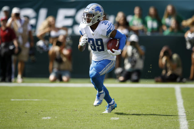 Detroit Lions' Jamal Agnew returns a kick off for a touchdown during the first half of an NFL football game against the Philadelphia Eagles, Sunday, Sept. 22, 2019, in Philadelphia. (AP Photo/Matt Rourke)