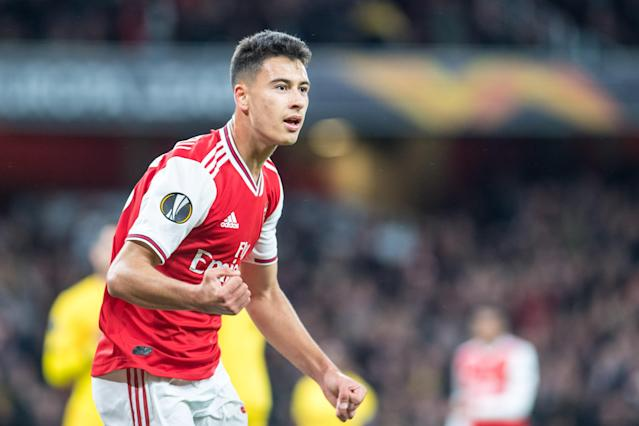 Aged 18 years & 107 days, Martinelli is the youngest player to net two or more goals in a major European game for Arsenal. (Photo by Sebastian Frej/MB Media/Getty Images)