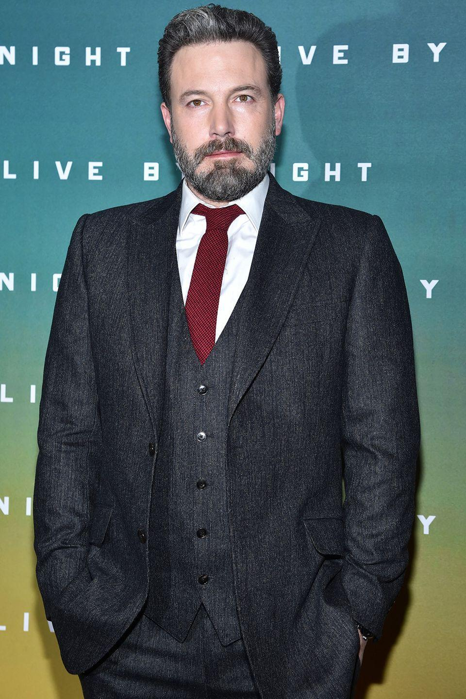 """<p>While the actor has continued to struggle with his alcohol addiction over the years, Affleck opened up earlier this year on his <a href=""""https://www.facebook.com/benaffleck/posts/1425085557565867"""" rel=""""nofollow noopener"""" target=""""_blank"""" data-ylk=""""slk:Facebook"""" class=""""link rapid-noclick-resp"""">Facebook</a> page in a post where he admits to completing treatment again in order to be the best father that he can be. He even brought a <a href=""""https://www.harpersbazaar.com/celebrity/latest/a21422/ben-affleck-took-a-sober-coach-to-oscars/"""" rel=""""nofollow noopener"""" target=""""_blank"""" data-ylk=""""slk:sober coach"""" class=""""link rapid-noclick-resp"""">sober coach</a> to the Oscars for support. </p>"""