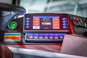 Dependable's Idle Reduction & Energy Storage System (IRESS), powered by Volta, is customizable and easily managed from the cab. The green State of Charge gauge (left) looks similarly to a fuel gauge and lets operators know how much energy is left.