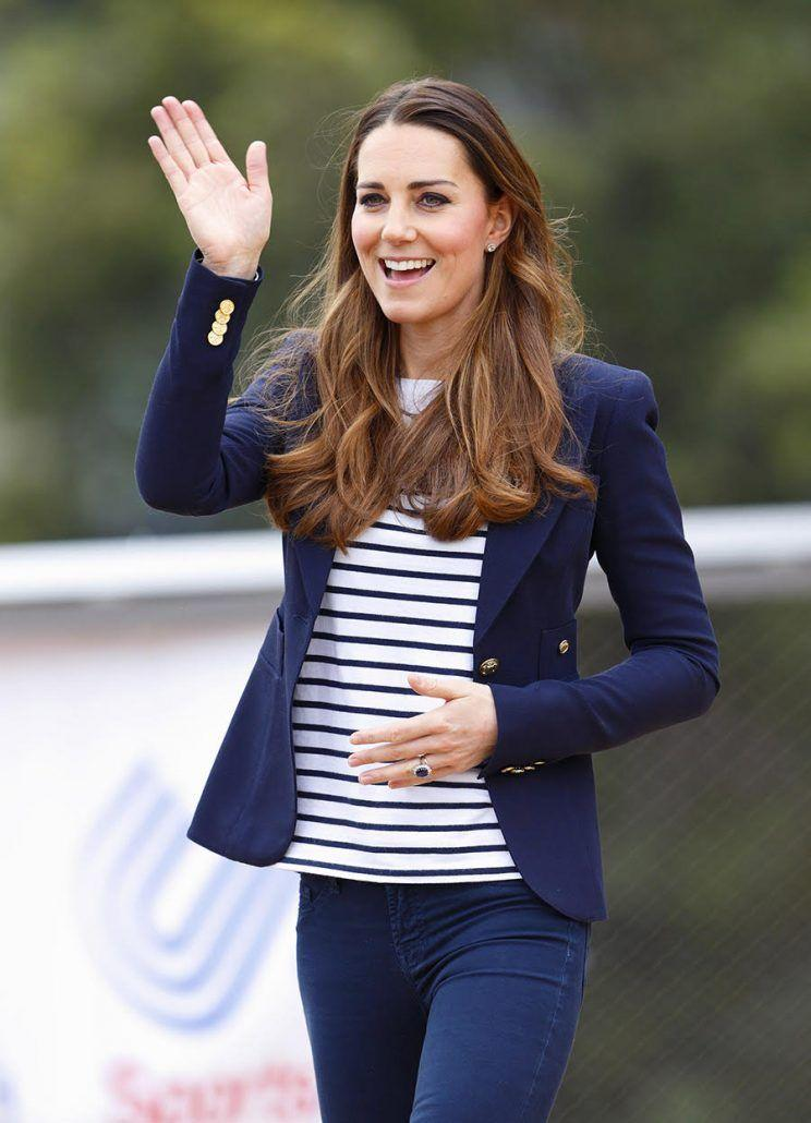 In 2013, while attending a SportsAid workshop at the Olympic Park in London, Kate wore a white-and-blue Ralph Lauren Tori Breton-striped top, blue Stuart Weitzman Corkswoon wedges, and her staple navy blue Smythe blazer.