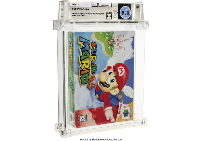 This photo provided by Heritage Auctions shows an unopened copy of Nintendo's Super Mario 64 that has sold at auction for $1.56 million. Heritage Auctions in Dallas said that the 1996 video game sold Sunday, July 11, 2021, breaking its previous record price for the sale of a single video game. (Courtesy of Heritage Auctions via AP)