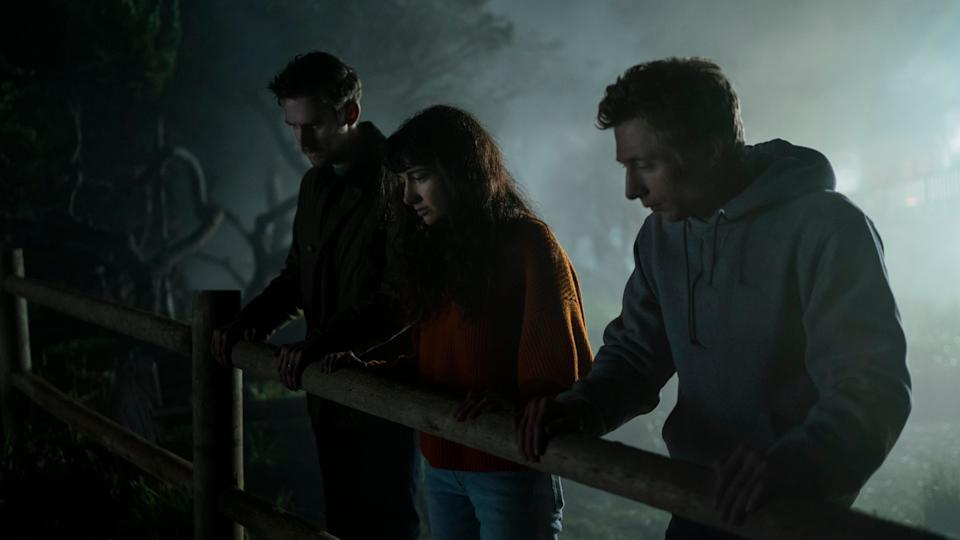 """Dan Stevens (left), Sheila Vand and Jeremy Allen White play guests at a lakeside Airbnb that find tension rather than relaxation in the horror film """"The Rental."""""""
