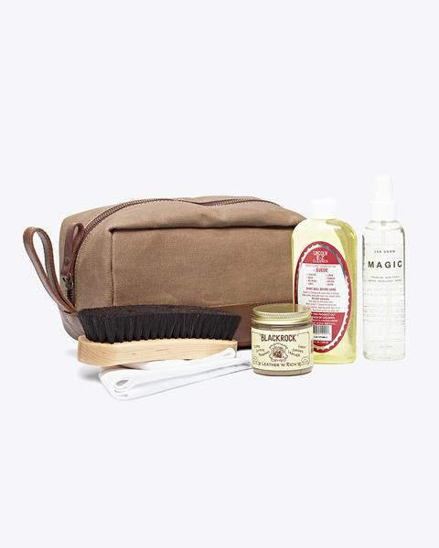 """<h3><a href=""""https://nisolo.com/collections/mens-shoes-and-accessories/products/leather-shoe-care-kit"""" rel=""""nofollow noopener"""" target=""""_blank"""" data-ylk=""""slk:Nisolo Shoe Care Kit"""" class=""""link rapid-noclick-resp"""">Nisolo Shoe Care Kit</a></h3><br><em>Over $100</em><br><br>You don't want to disrupt your dad's shoe game <em>too</em> much — he's been wearing the same pair of boots since you were about 12, and he's not likely to switch it up significantly anytime soon. Instead of freaking him out with the concept of new kicks, get him a shoe-cleaning kit to keep that old standby pair in tip-top shape.<br><br><strong>Nisolo</strong> Shoe Care Kit, $, available at <a href=""""https://go.skimresources.com/?id=30283X879131&url=https%3A%2F%2Fnisolo.com%2Fcollections%2Fmens-shoes-and-accessories%2Fproducts%2Fleather-shoe-care-kit"""" rel=""""nofollow noopener"""" target=""""_blank"""" data-ylk=""""slk:Nisolo"""" class=""""link rapid-noclick-resp"""">Nisolo</a>"""