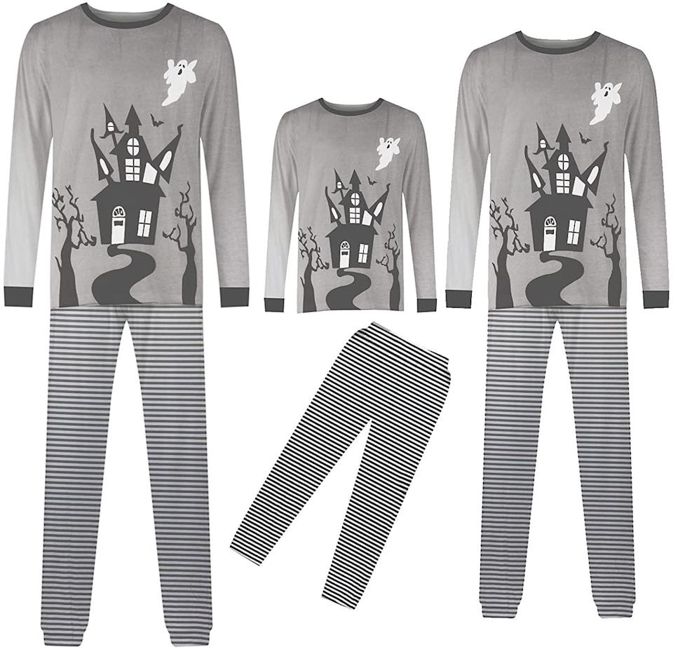 <p>Transform your family into the beloved Addams family with these cozy Haunted House pajamas. The two-piece set comes in a<br> <span>Women's Haunted House O-Neck Long Sleeve Matching Halloween Pajamas</span> ($11 - $26), <span>Kid's Haunted House O-Neck Long Sleeve Matching Halloween Pajamas </span> ($11- $26), and <span>Men's Haunted House O-Neck Long Sleeve Matching Halloween Pajamas</span> ($11 - $26). </p>