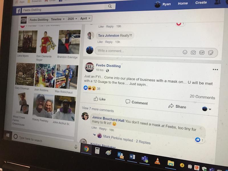 Feebs Distilling Co. in Milford banned customers from wearing masks in a Facebook post on Sunday. It came shortly after the Centers for Disease Control and Prevention recommended people wear them to slow the spread of the cornavirus pandemic.