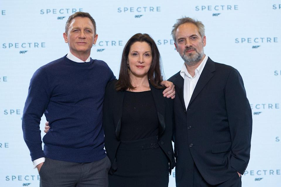Daniel Craig, producer Barbara Broccoli, and director Sam Mendes at the 2014 launch of 'Spectre' (Sony Pictures)