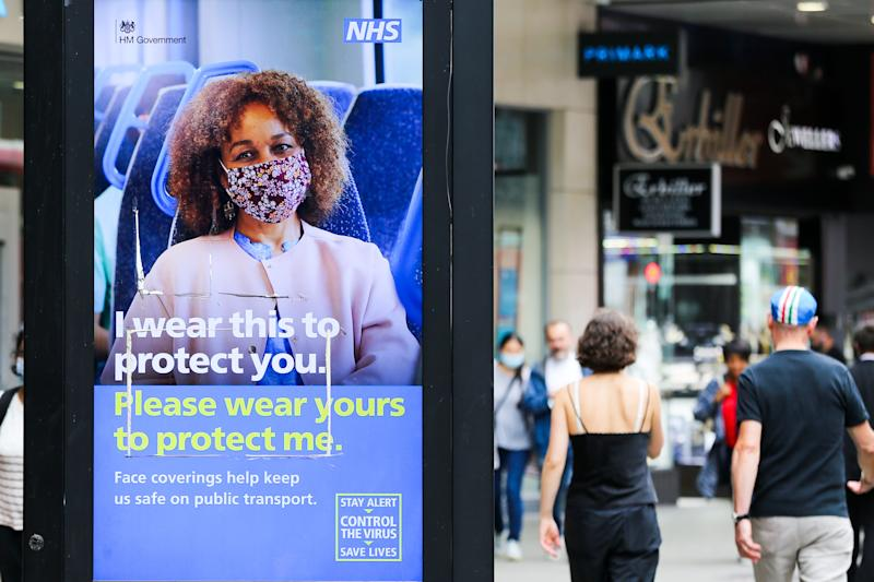 The UK government's digital advert in London which highlights 'I wear this to protect you. Please wear yours to protect me' during the COVID19. The number of people who tested positive for the coronavirus is increasing. (Photo by Dinendra Haria / SOPA Images/Sipa USA)