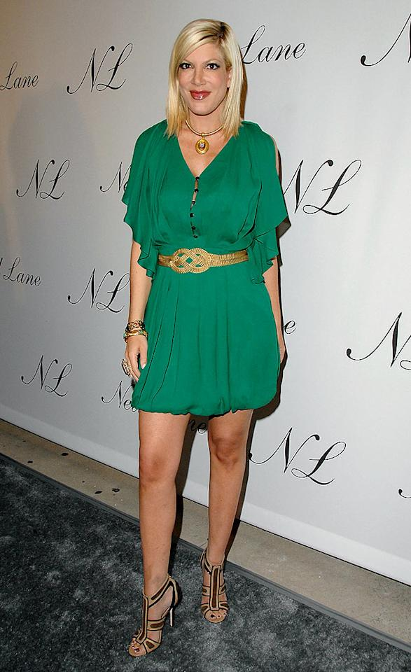 "Tori Spelling arrived for the opening of jeweler Neil Lane's flagship store in Los Angeles draped in green and gold. Jon Kopaloff/<a href=""http://www.filmmagic.com/"" target=""new"">FilmMagic.com</a> - October 29, 2008"