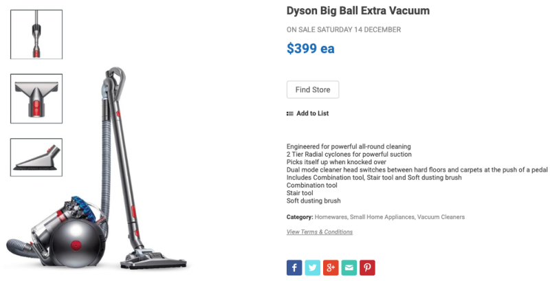 Dyson Big Ball Extra vacuum cleaner on sale at Aldi.