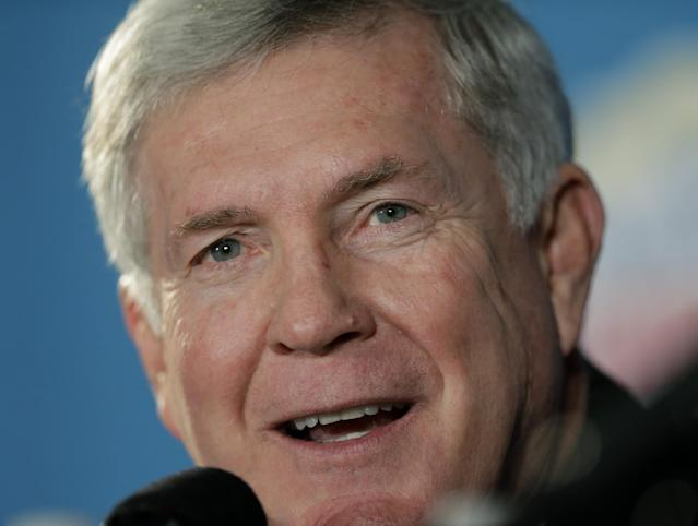 Texas coach Mack Brown responds to a question during a Valero Alamo Bowl NCAA college football news conference, Thursday, Dec. 12, 2013, in San Antonio. Texas and Oregon will play Dec. 30. (AP Photo/Eric Gay)