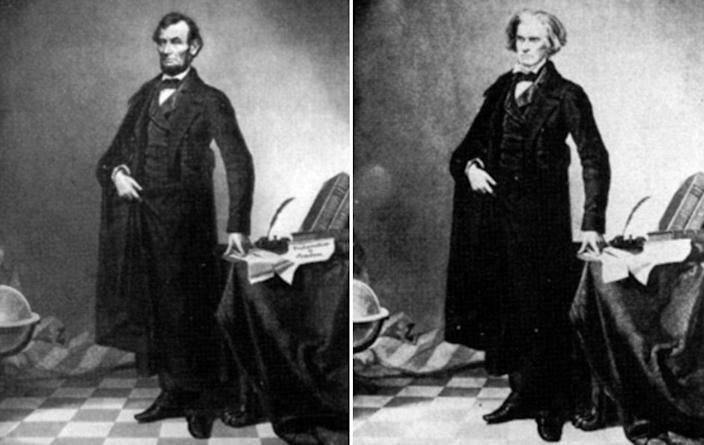 A photo of President Lincoln's head was placed on the image of Southern politician John Calhoun to create the portrait on the left.