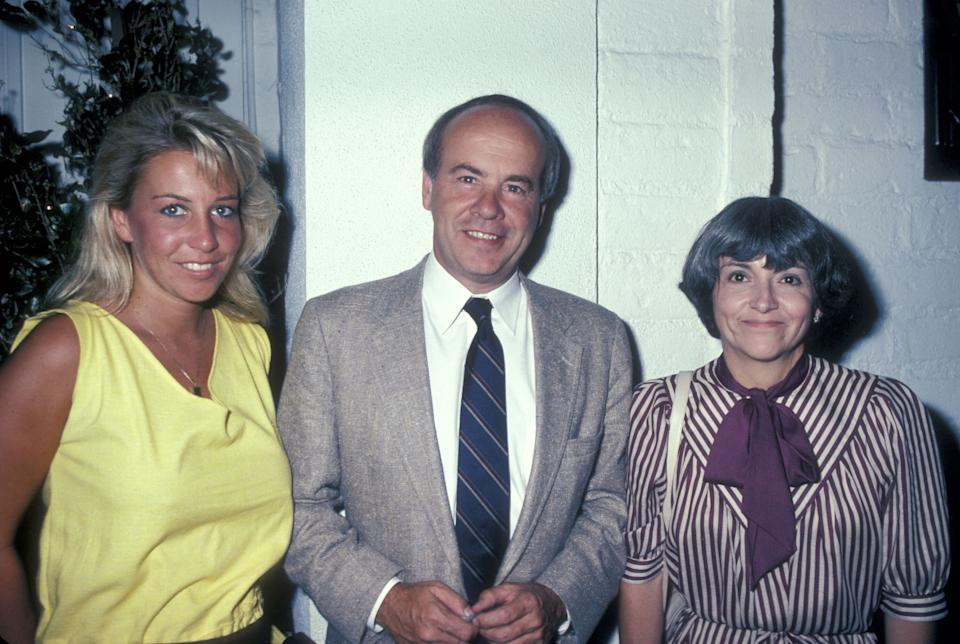 Actor Tim Conway poses with daughter Kelly and wife Charlene on Aug. 9, 1983, at Chasen's Restaurant in Beverly Hills, California. (Photo by Ron Galella, Ltd./WireImage)