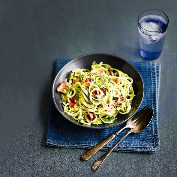 """<p>Using a spiralizer turns vegetables into pasta, which is perfect for this courgetti carbonara!</p><p><strong>Recipe: <a href=""""https://www.goodhousekeeping.com/uk/food/recipes/a552703/courgetti-carbonara/"""" rel=""""nofollow noopener"""" target=""""_blank"""" data-ylk=""""slk:Courgetti carbonara"""" class=""""link rapid-noclick-resp"""">Courgetti carbonara</a></strong></p>"""