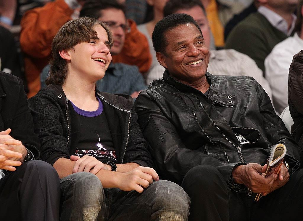 "Michael Jackson's oldest son Prince Michael, who will turn 14 on February 13, was also spotted enjoying the basketball game with his Uncle Jackie. Noel Vasquez/<a href=""http://www.gettyimages.com/"" target=""new"">GettyImages.com</a> - January 25, 2011"