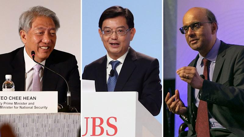 Heng Swee Keat (centre) will become Singapore's Deputy Prime Minister on 1 May, while incumbents Teo Chee Hean (left) and Tharman Shanmugaratnam will be appointed Senior Ministers. (PHOTOS: Getty Editorial/Reuters/Yahoo News Singapore)