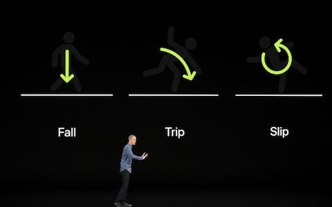Jeff Williams, chief operating officer of Apple reveals a new Watch Series 4 feature that detects if someone has fallen and rings emergency services if they lie motionless for more than a minute - Credit: Bloomberg