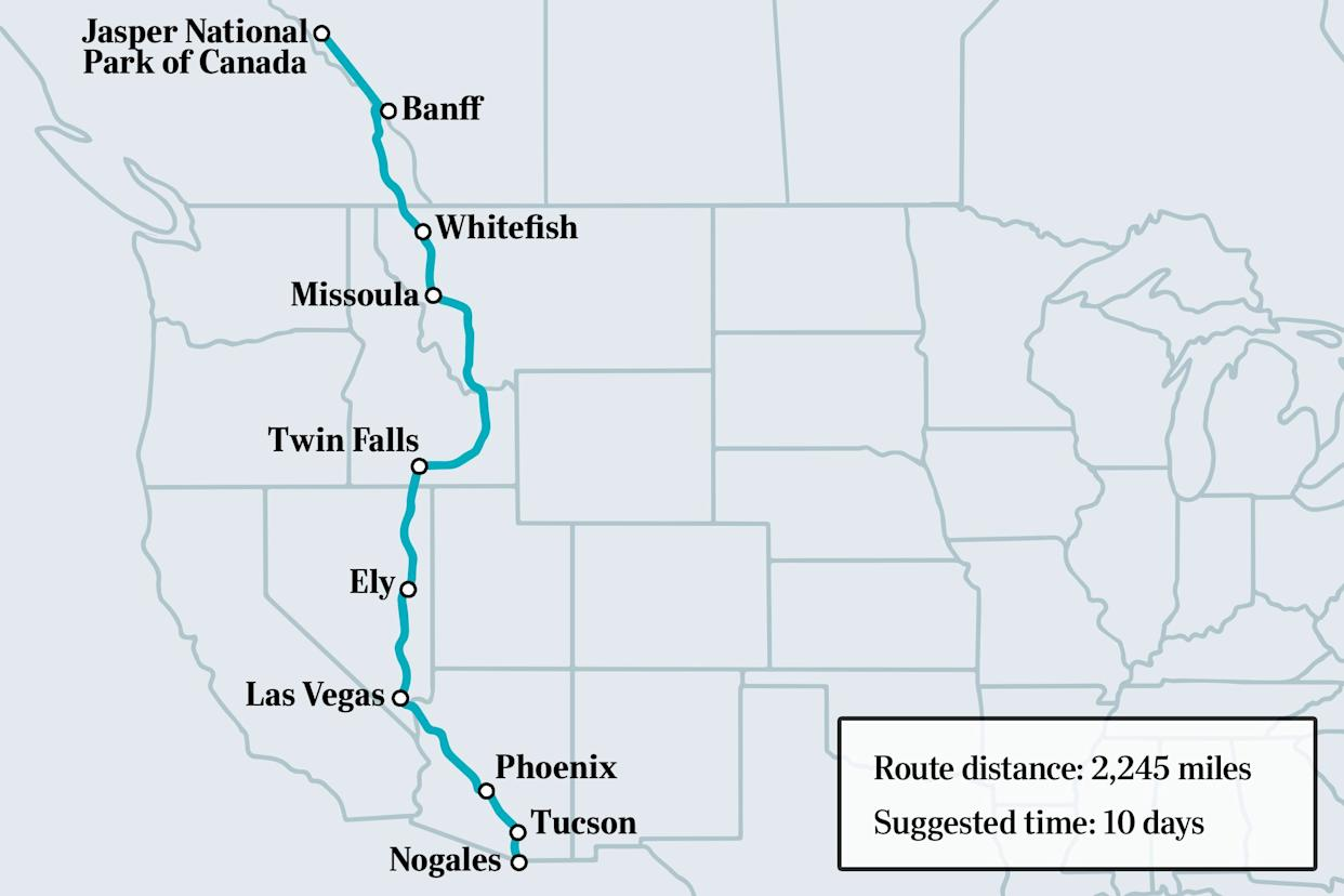 border to border road trip map route with select cities