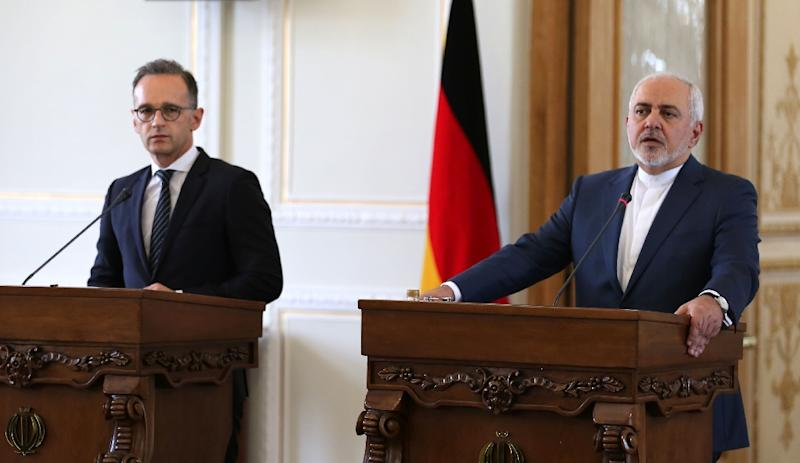 Iran's Foreign Minister Mohammad Javad Zarif (R) and his German counterpart Heiko Maas give a joint press conference in the capital Tehran on June 10, 2019 (AFP Photo/ATTA KENARE)