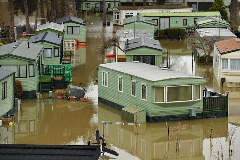 The Riverside Caravan Park Houses surrounded by flood water in in Bridgnorth, Shropshire, in the aftermath of Storm Dennis. (Photo by Jacob King/PA Images via Getty Images)