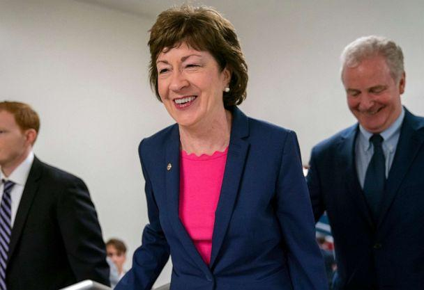 PHOTO: In this June 18, 2019, file photo, Sen. Susan Collins arrives at the Capitol in Washington to extend her perfect Senate voting record to 7,000. (J. Scott Applewhite/AP, FILE)