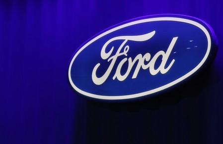 Ford logo is seen at the North American International Auto Show in Detroit