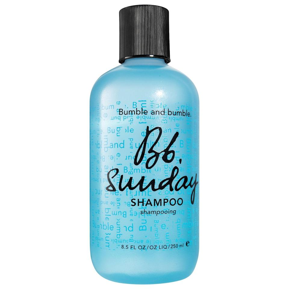 """<p><strong>Bumble and bumble</strong></p><p>sephora.com</p><p><strong>$27.00</strong></p><p><a href=""""https://go.redirectingat.com?id=74968X1596630&url=https%3A%2F%2Fwww.sephora.com%2Fproduct%2Fsunday-clarifying-shampoo-P280564&sref=https%3A%2F%2Fwww.harpersbazaar.com%2Fbeauty%2Fhair%2Fg26469819%2Fbest-shampoo-for-oily-hair%2F"""" rel=""""nofollow noopener"""" target=""""_blank"""" data-ylk=""""slk:Shop Now"""" class=""""link rapid-noclick-resp"""">Shop Now</a></p><p>Made with ingredients like ginseng root, rosemary leaf, and sage leaf extract, this fan-favorite shampoo works hard to remove buildup between washes while keeping hair strong and smooth. </p>"""
