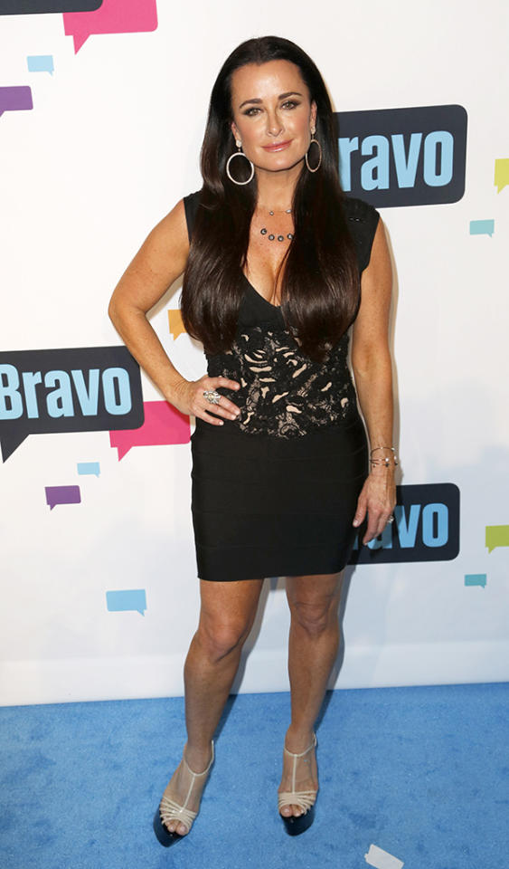 Celebrity arrivals at the Upfront by Bravo blue carpet in NYC.