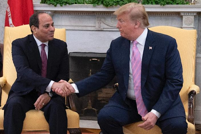 Donald Trump hosted Egyptian President Abdel Fattah el-Sisi -- who has cracked down heavily on the Muslim Brotherhood -- at the White House on April 9, 2019 (AFP Photo/Jim WATSON)